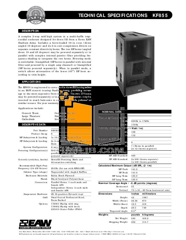 pdf for Eaw Speaker System KF855 manual