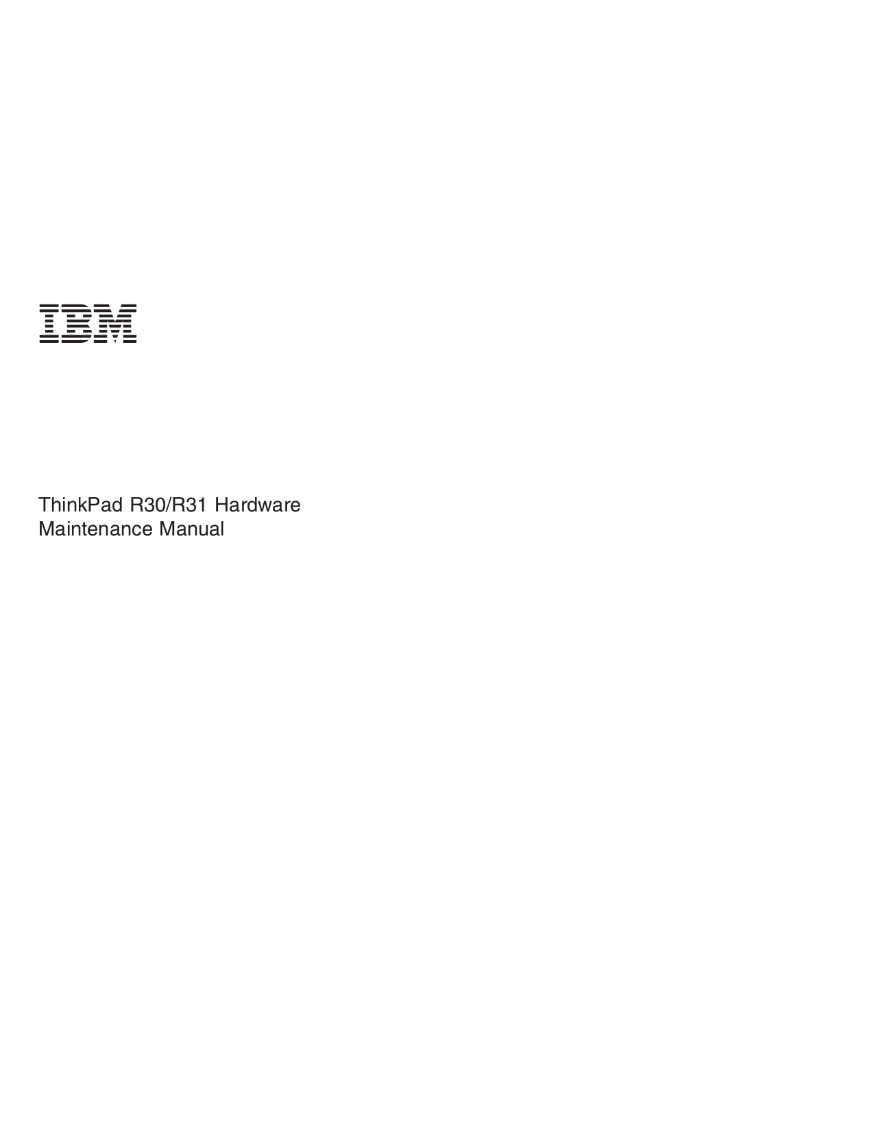 pdf for IBM Laptop ThinkPad R31 manual