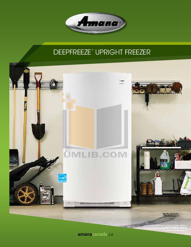 pdf for Amana Freezer AQU1613TEW manual