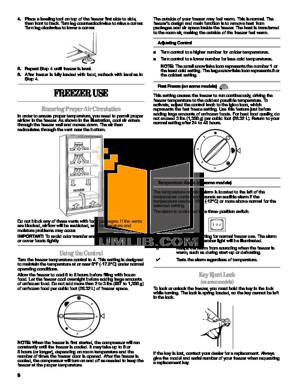Amana Freezer AQU1613TEW pdf page preview