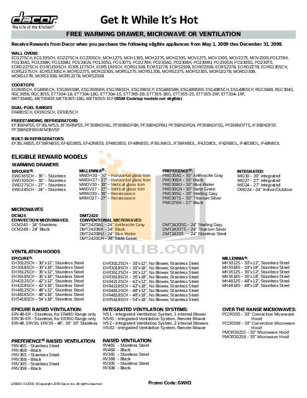 pdf for Dacor Refrigerator Integrated IF36BNDFSF manual