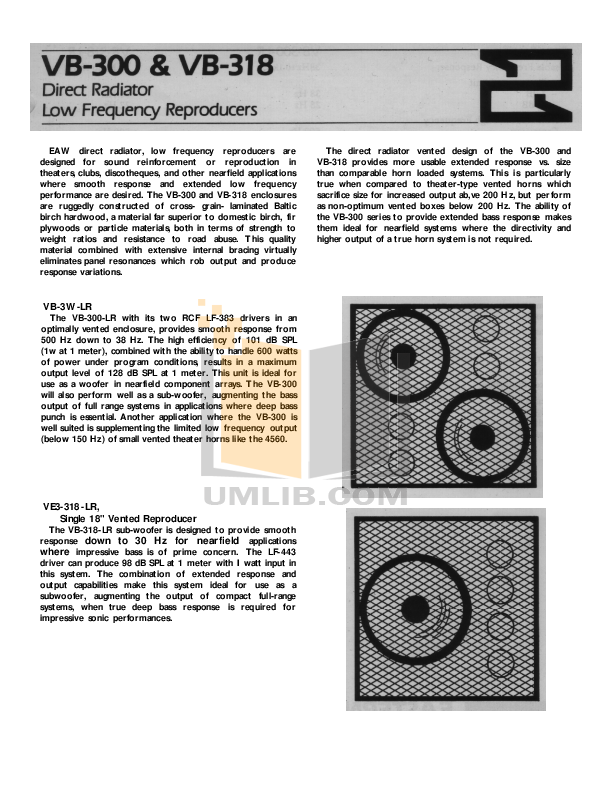 Eaw Speaker System VB318 pdf page preview