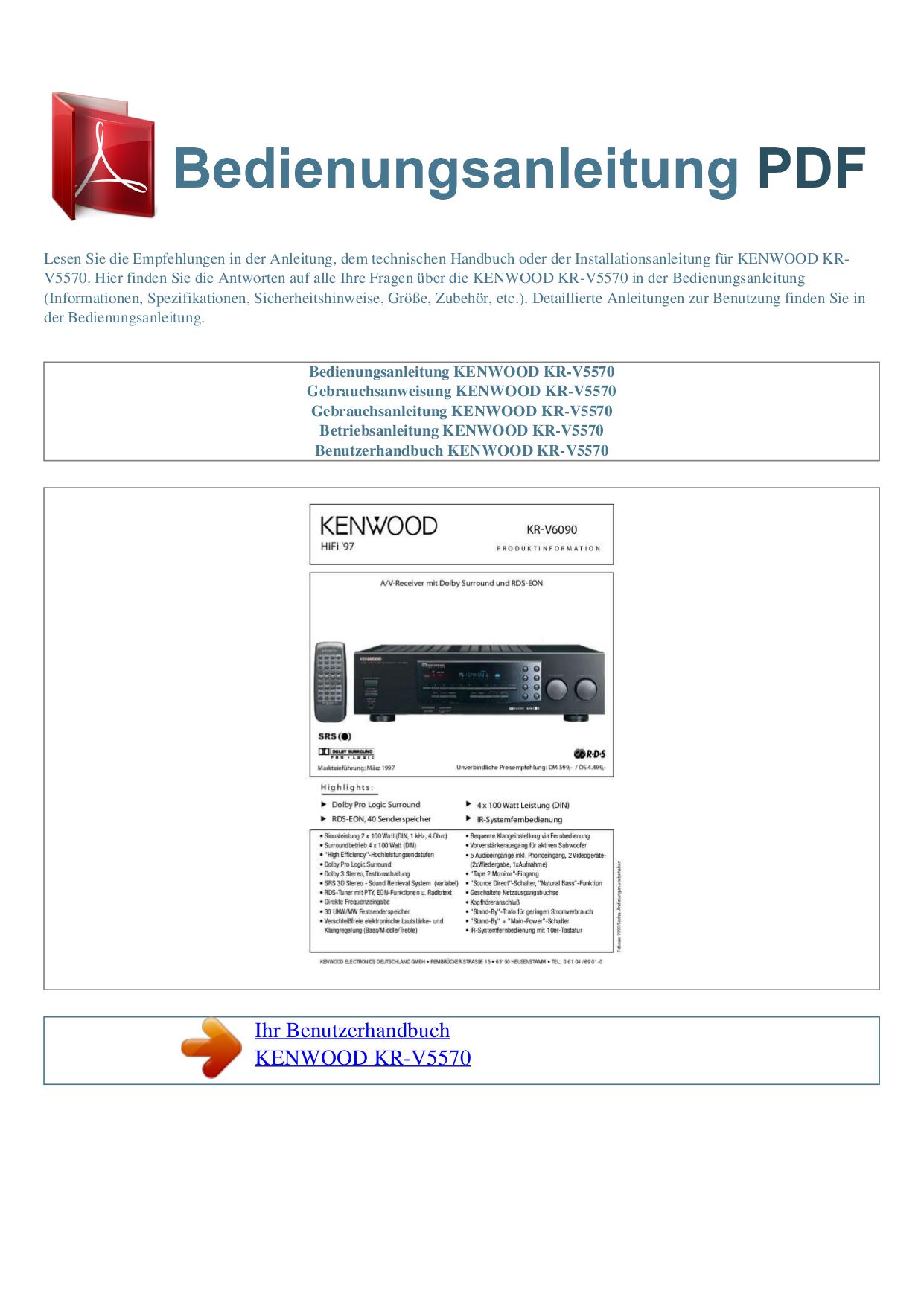 Download Free Pdf For Kenwood KR-V5570 Receiver Manual
