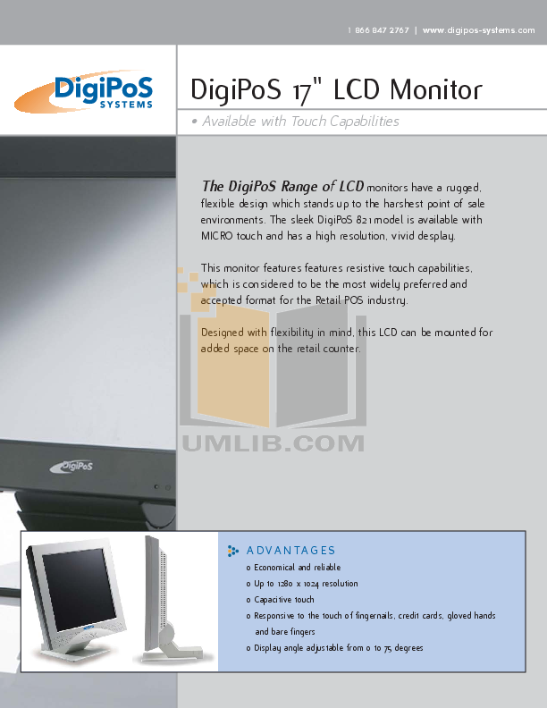 pdf for DigiPos Monitor 821A manual