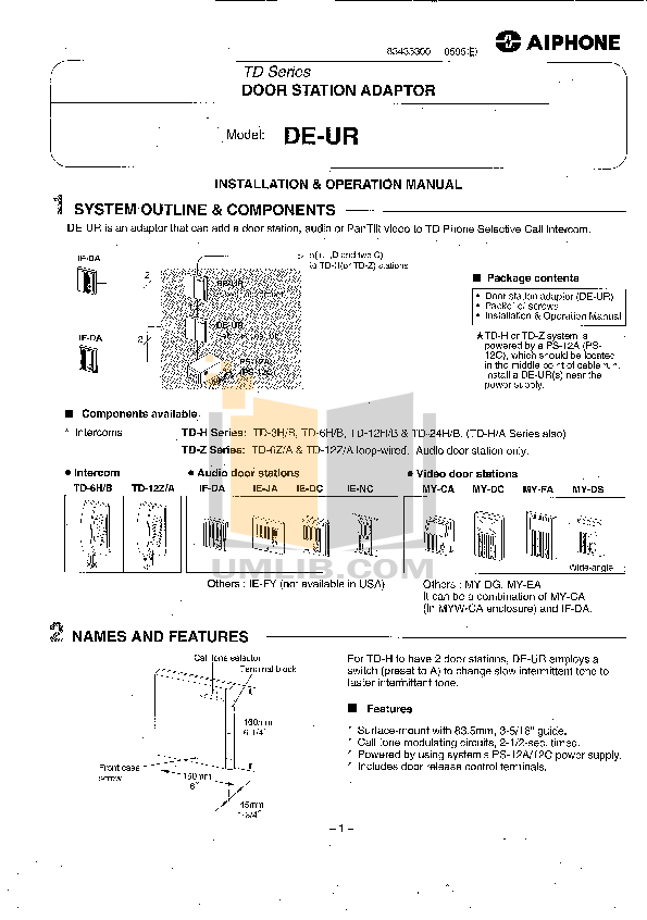 pdf for Aiphone Other TD-6Z Intercoms manual