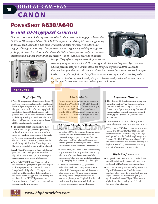 Canon Digital Camera Powershot SD900 pdf page preview
