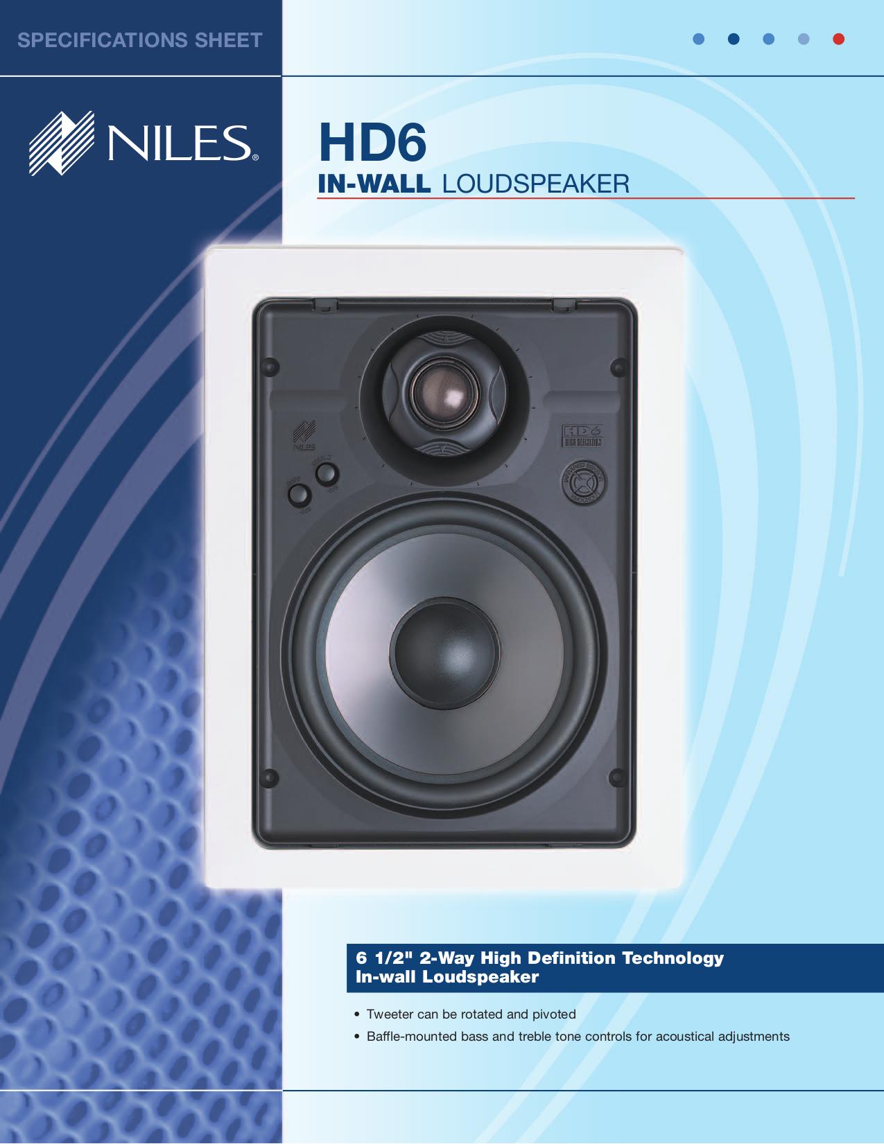 pdf for Niles Speaker HD6R manual