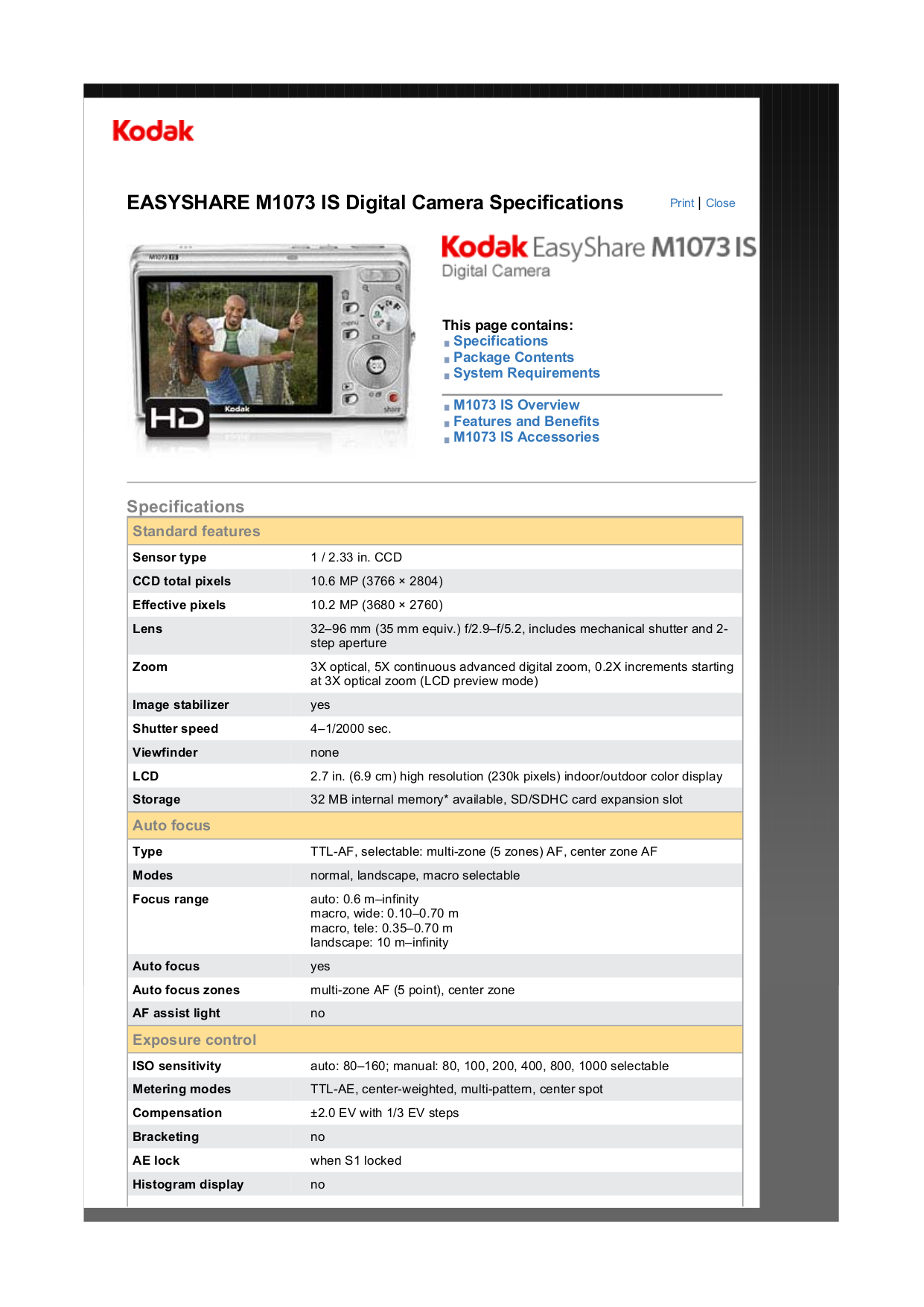 pdf for Kodak Digital Camera EasyShare M1073 IS manual