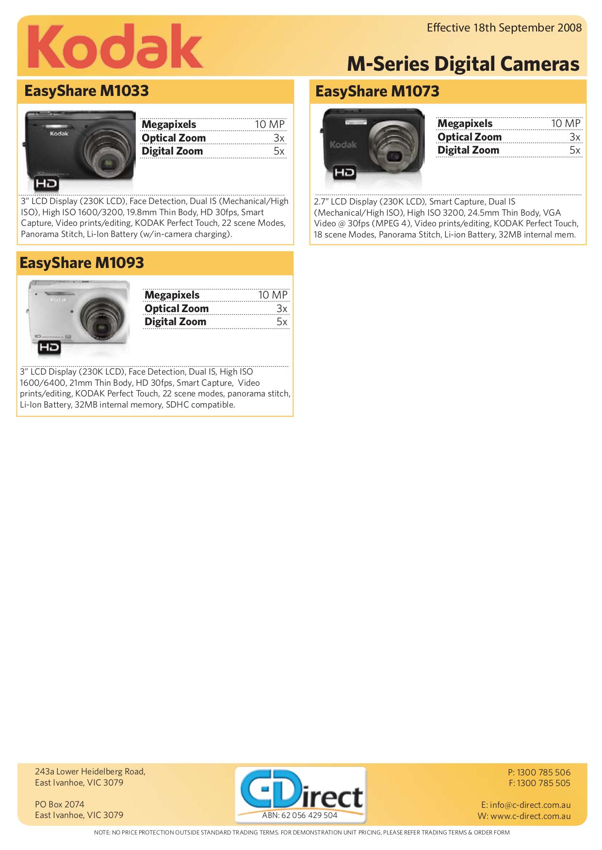pdf for Kodak Digital Camera EasyShare M1073 IS manual