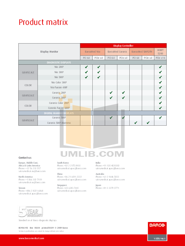 Barco Monitor MDSC-2124 pdf page preview