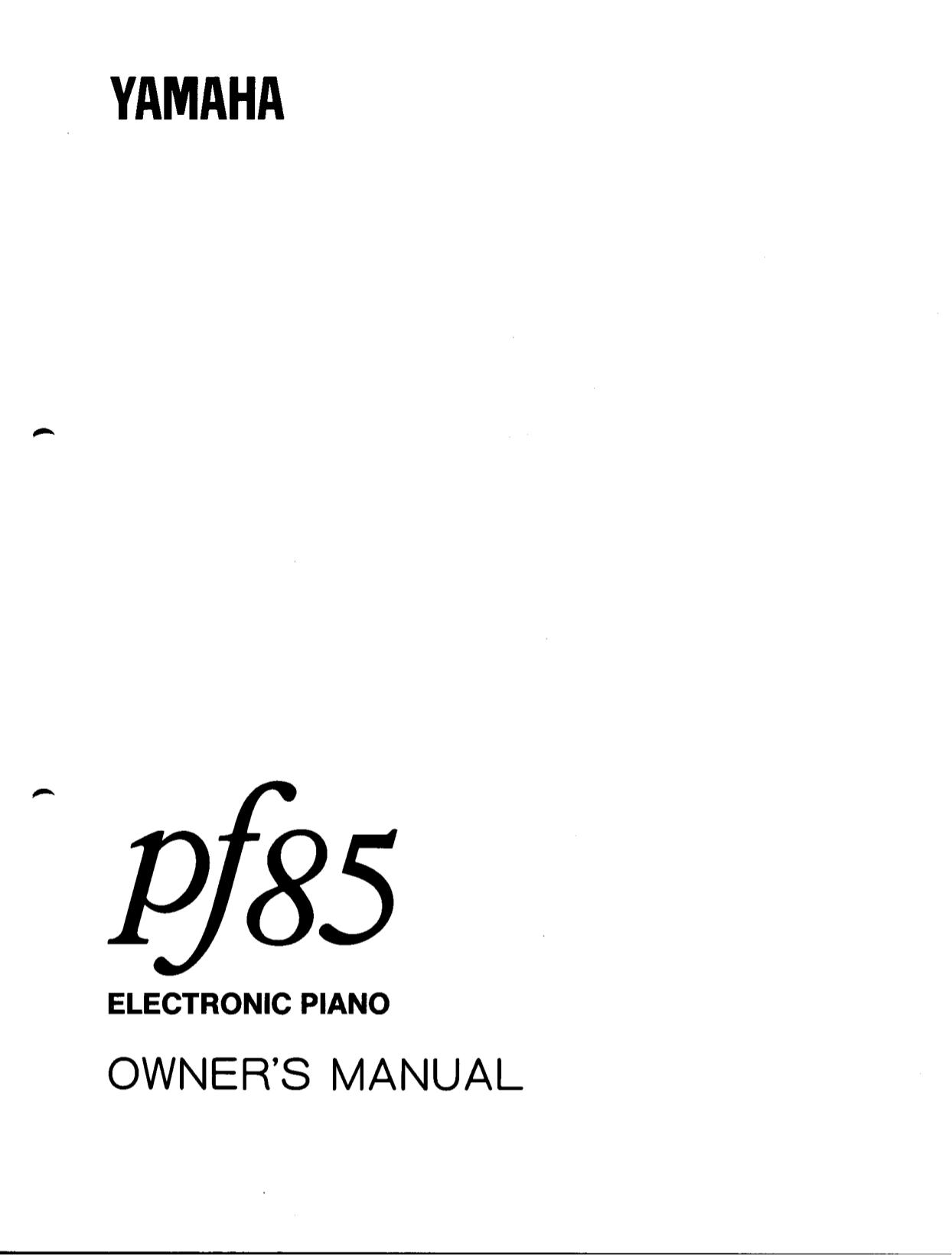 pdf for Yamaha Music Keyboard PF-85 manual