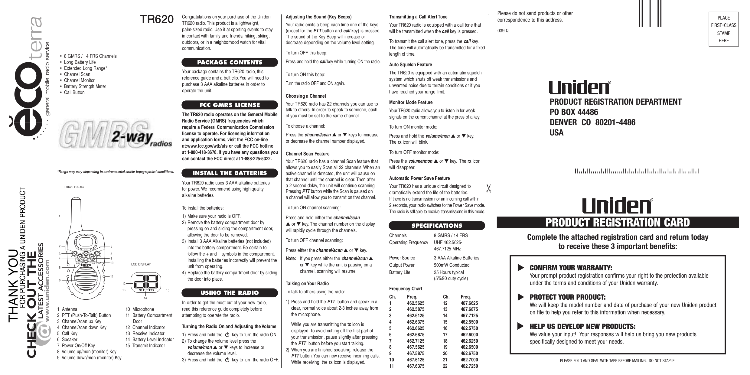 pdf for Uniden 2-way Radio TR620 manual