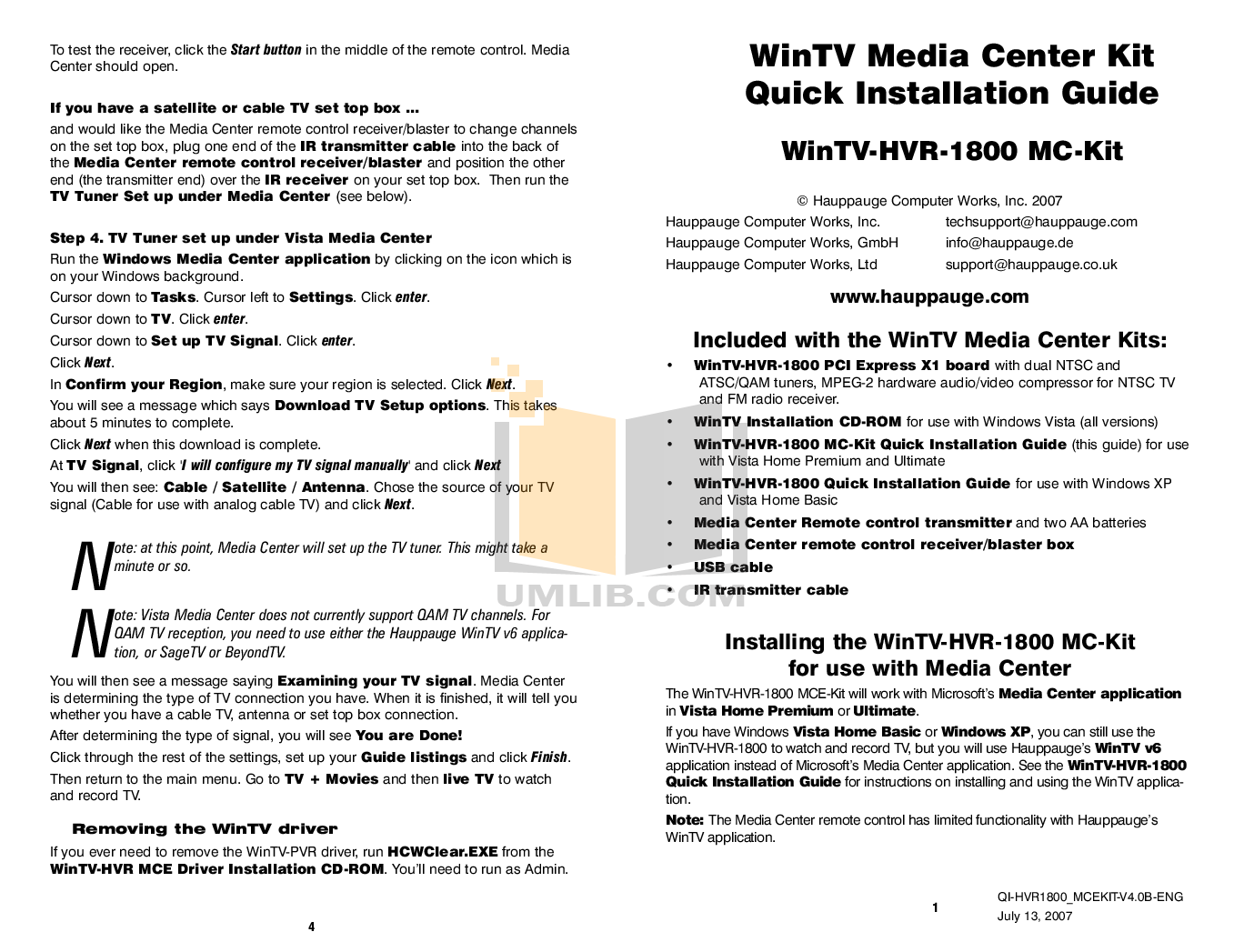 Download free pdf for Hauppauge WinTV-HVR-1800 TV Tuners Other manual