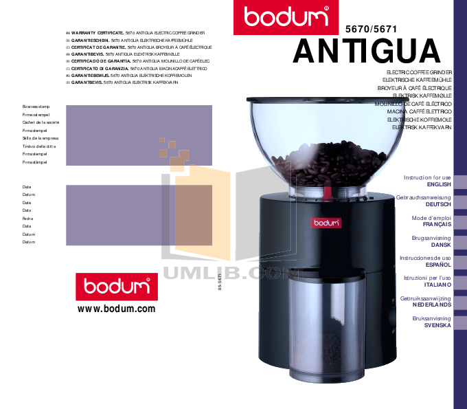 Download Free Pdf For Bodum 5670 Antigua Coffee Grinders Other Manual