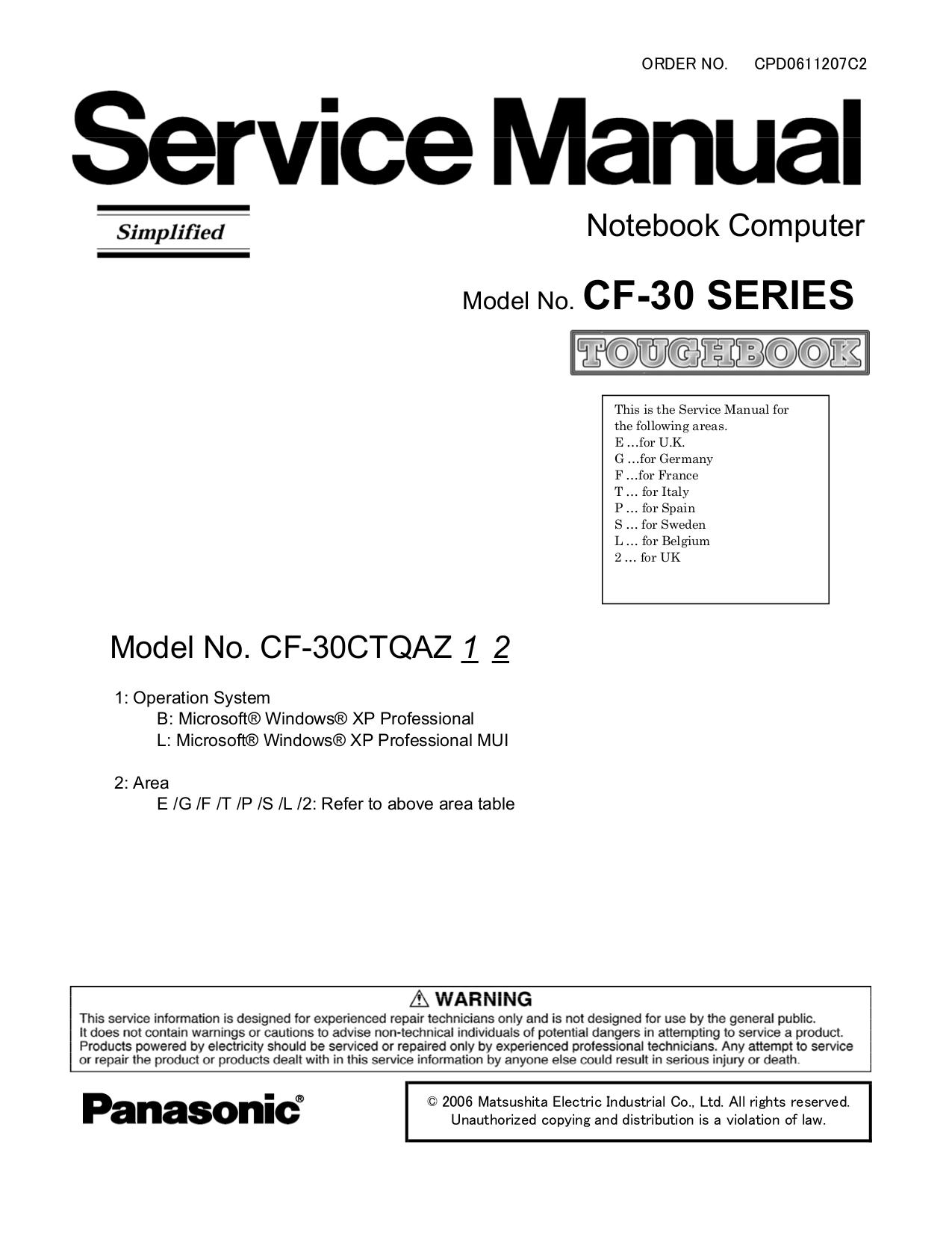 pdf for Panasonic Laptop Toughbook CF-30CAQAZBM manual