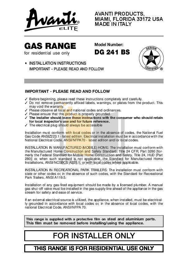 pdf for Avanti Range DG241BS manual
