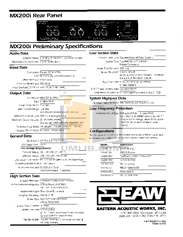 Eaw Speaker System FR253e pdf page preview