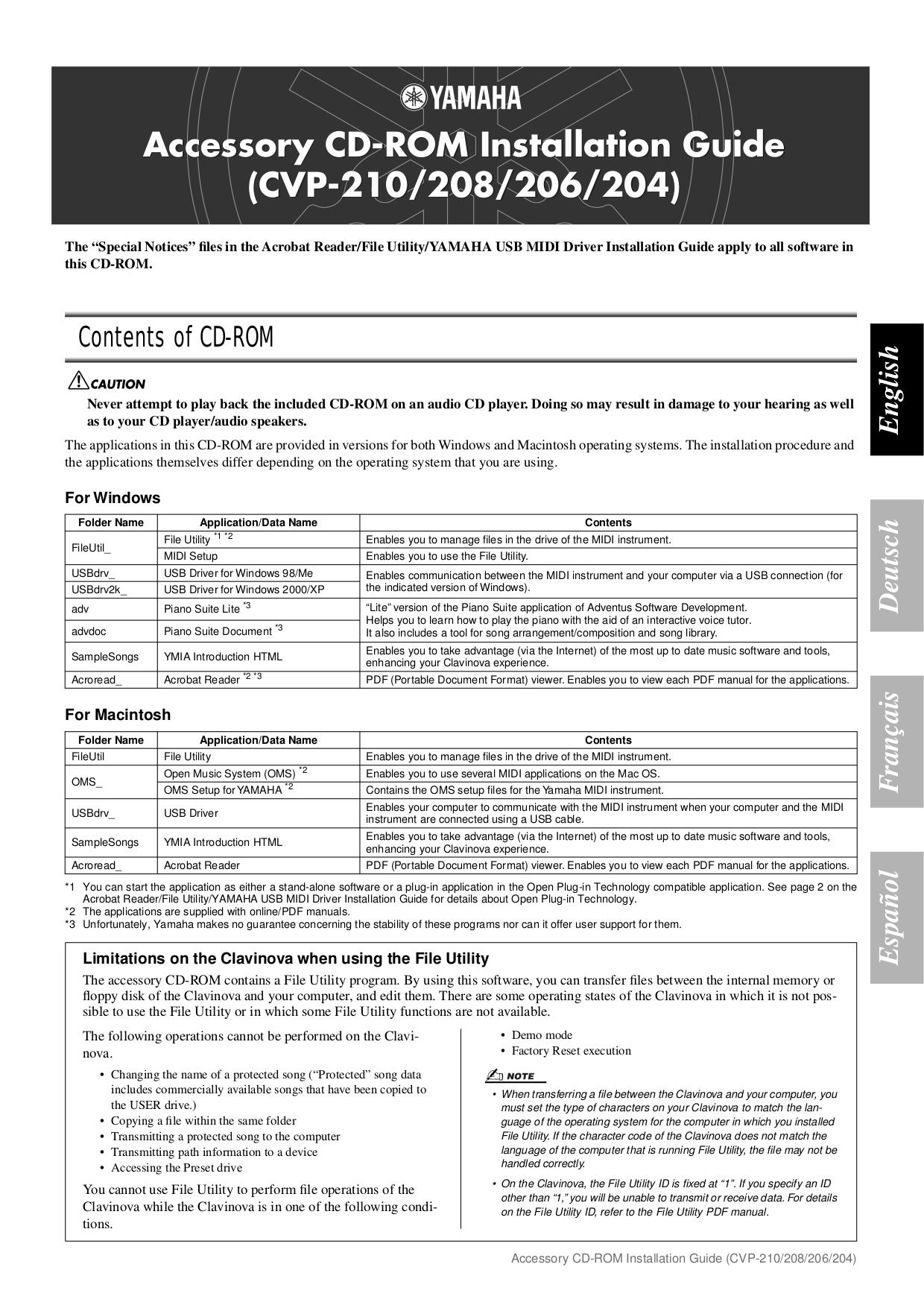 pdf for Yamaha Music Keyboard CVP-206 manual