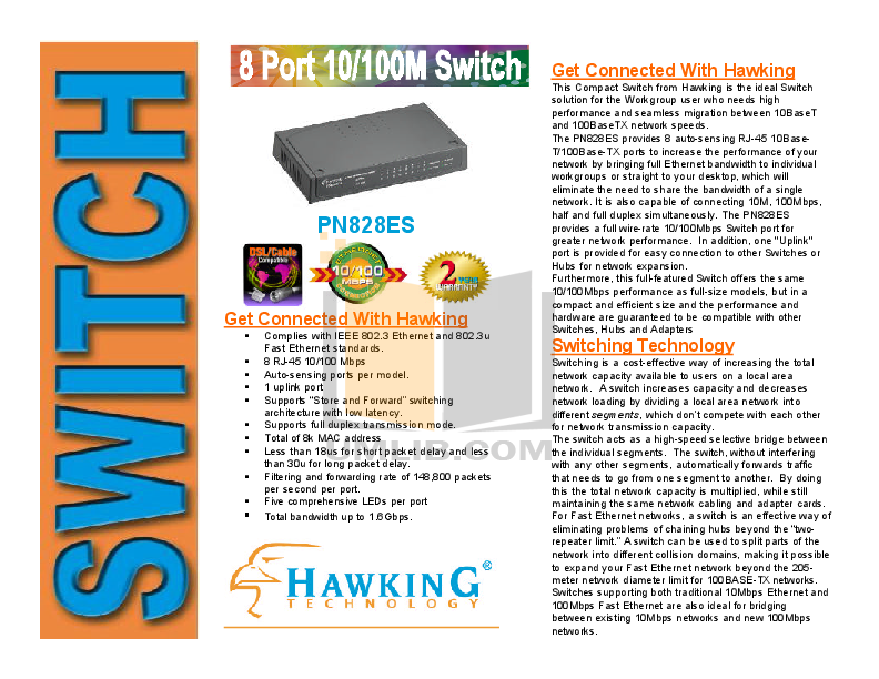 pdf for Hawking Other PN828ES Network Switch manual