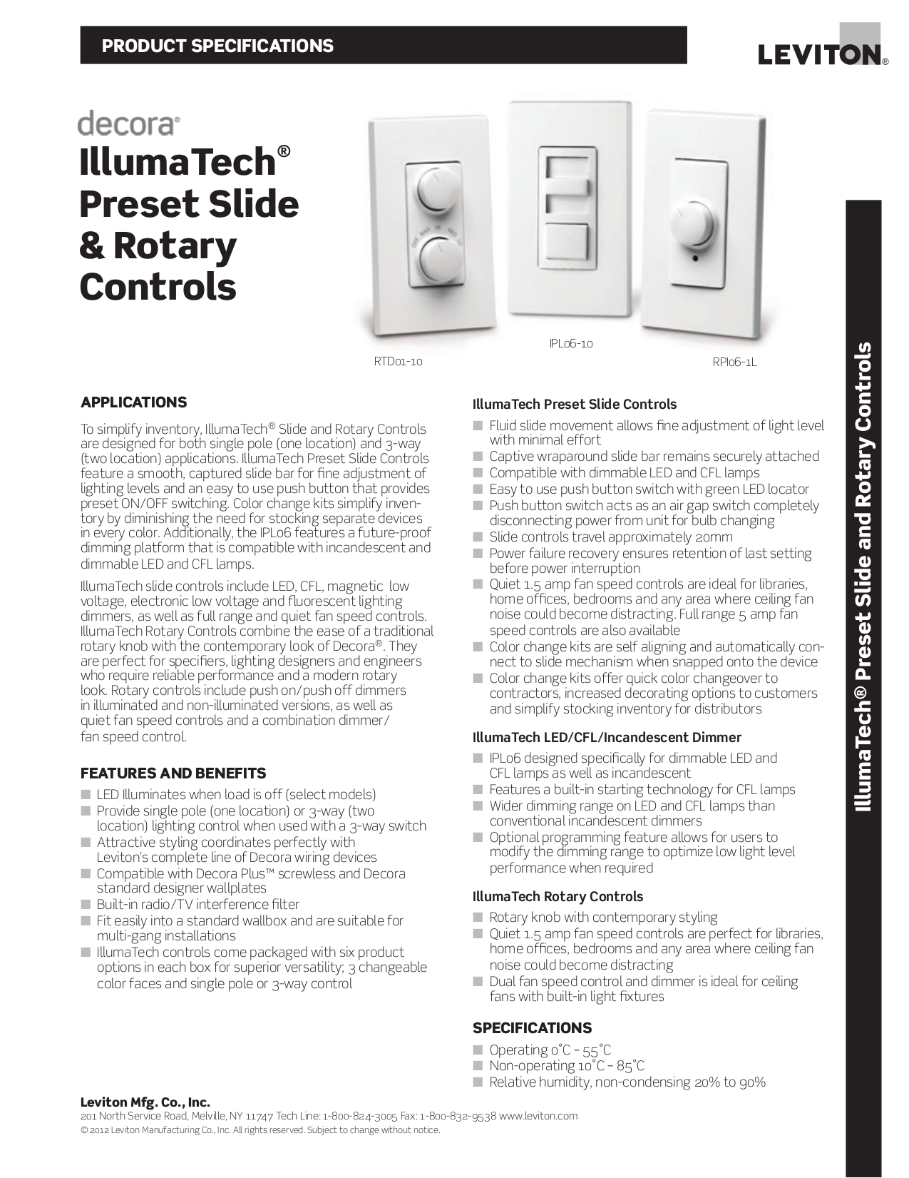 Download Free Pdf For Leviton Illumatech Ipm10 1l Dimmers Other Manual Rotary Dimmer Wiring Diagram