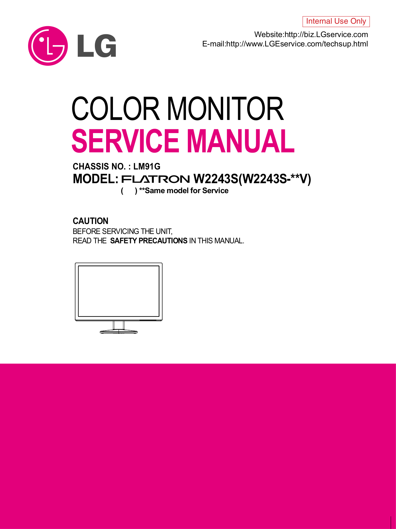 pdf for LG Monitor W2243S manual