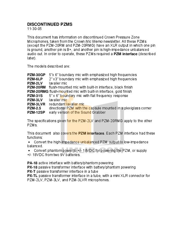 pdf for Crown Other PZM-2LV Microphones manual