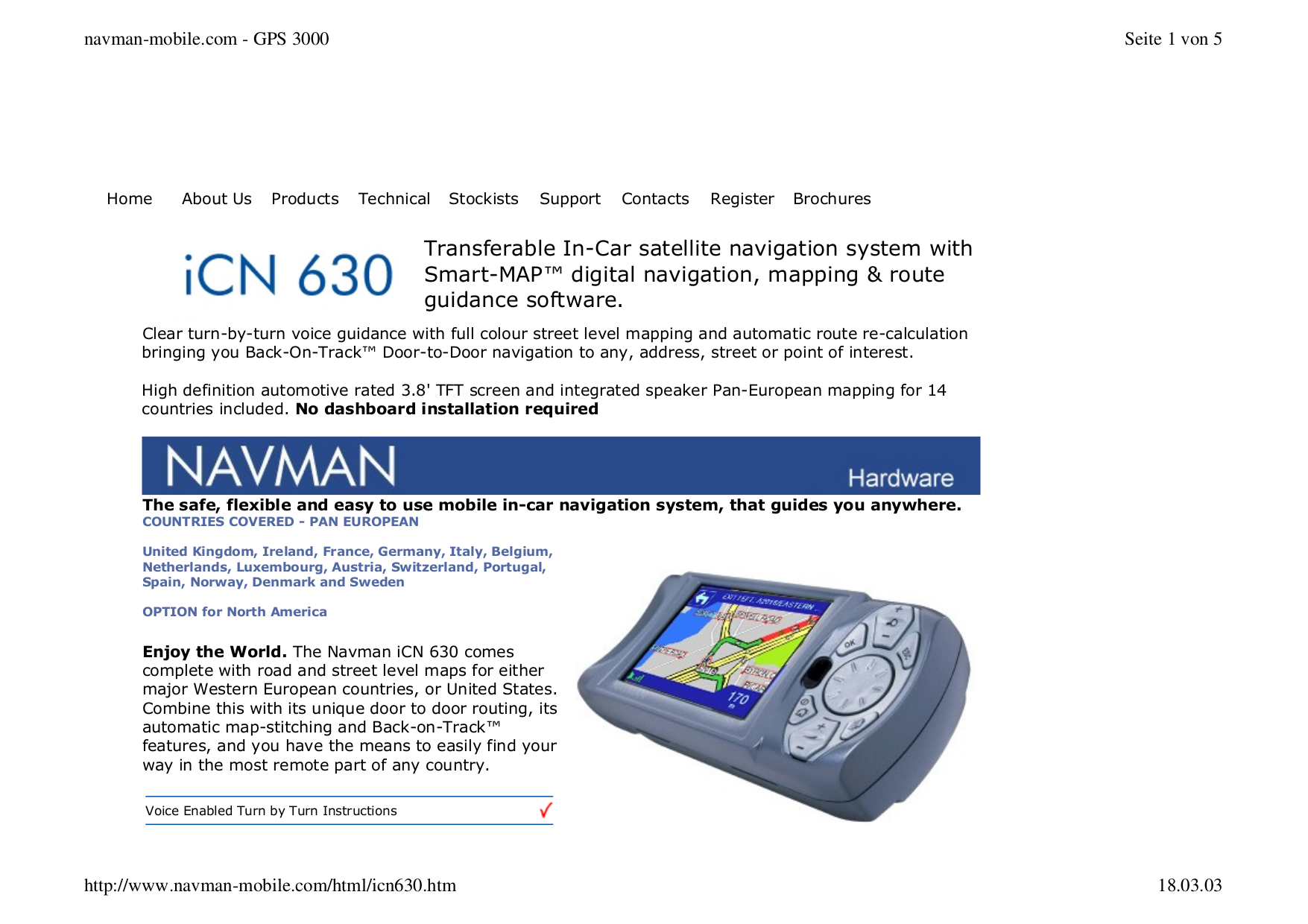 pdf for Navman GPS iCN630 manual