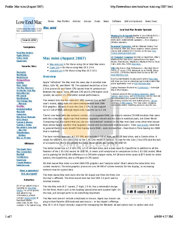 pdf for Apple Desktop Mac Mini MB139 manual