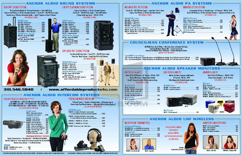 pdf for Anchor Speaker AN-130U1 manual