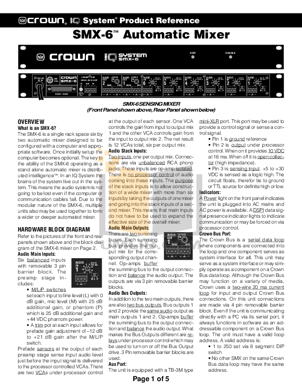 pdf for Crown Other IQ-PSI Serial Interface manual