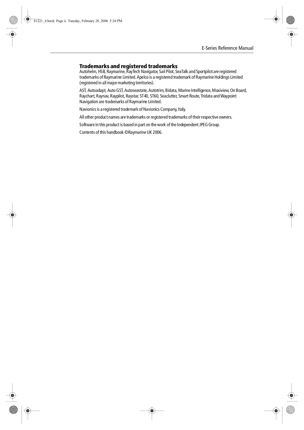 Raymarine E Series Reference Manual