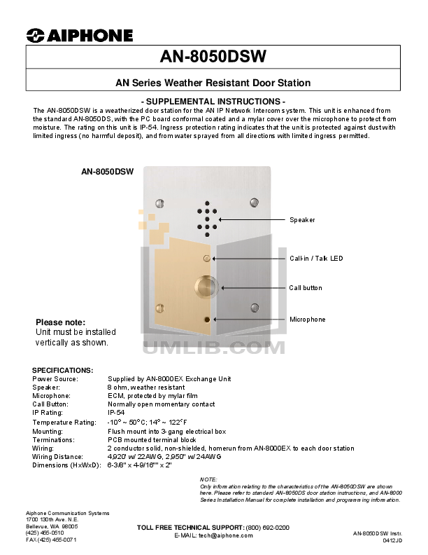 pdf for Aiphone Other AN-8050DS Intercoms manual