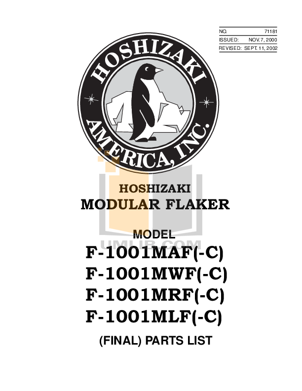 pdf for Hoshizaki Other F-1001MAF-C Modular Flakers manual