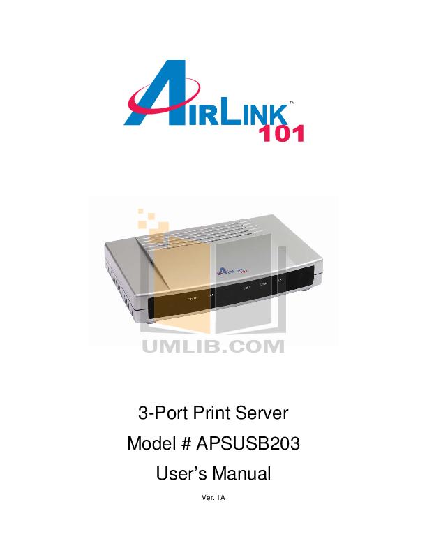 Airlink Other APSUSB203 Servers pdf page preview