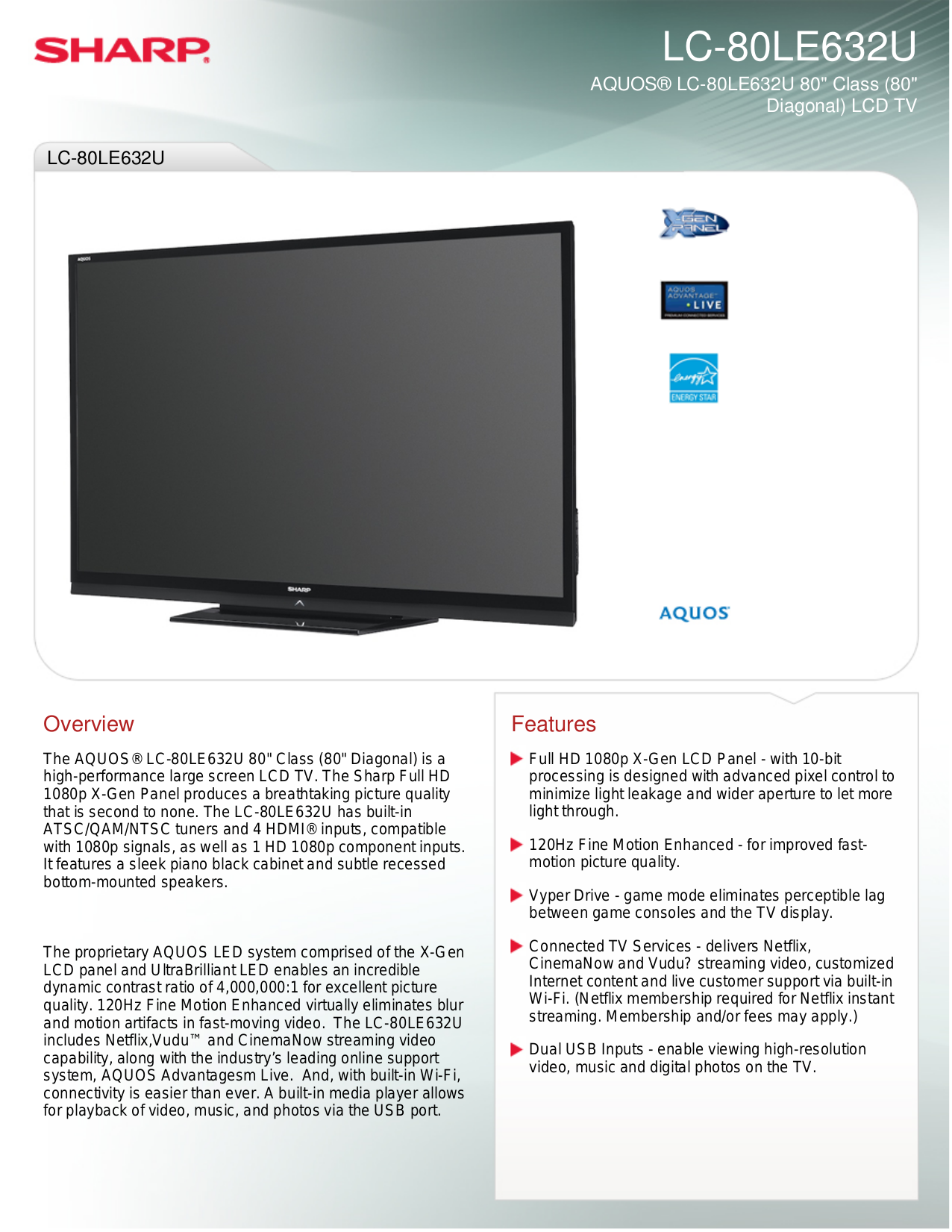 download free pdf for sharp aquos lc 80le632u lcd tv manual rh umlib com Sharp LC 80LE632U Parts Sharp AQUOS