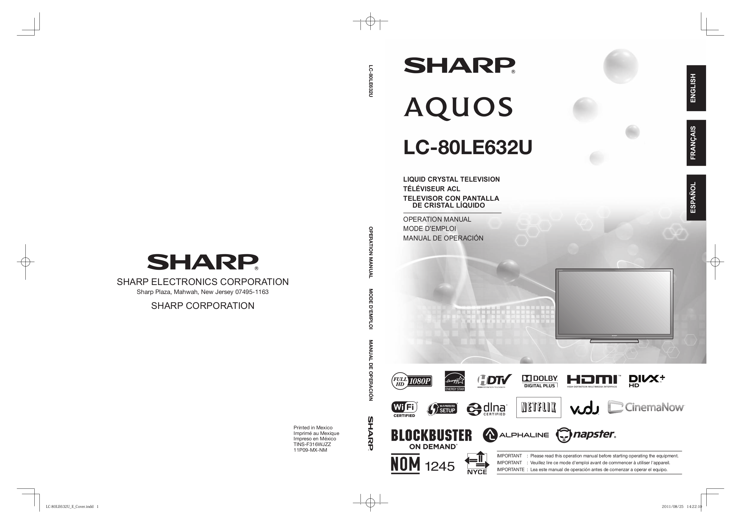 download free pdf for sharp aquos lc 80le632u lcd tv manual rh umlib com sharp lc-80le632u manual sharp aquos lc-80le632u manual
