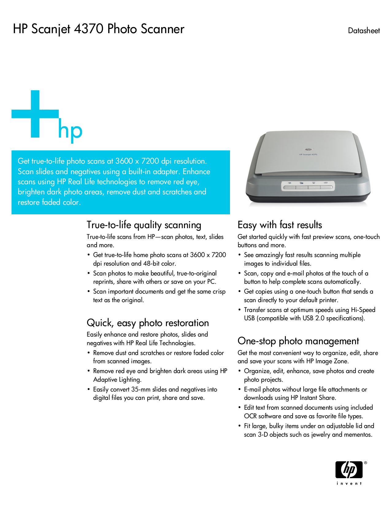 Download free pdf for HP Scanjet 4370 Scanner manual