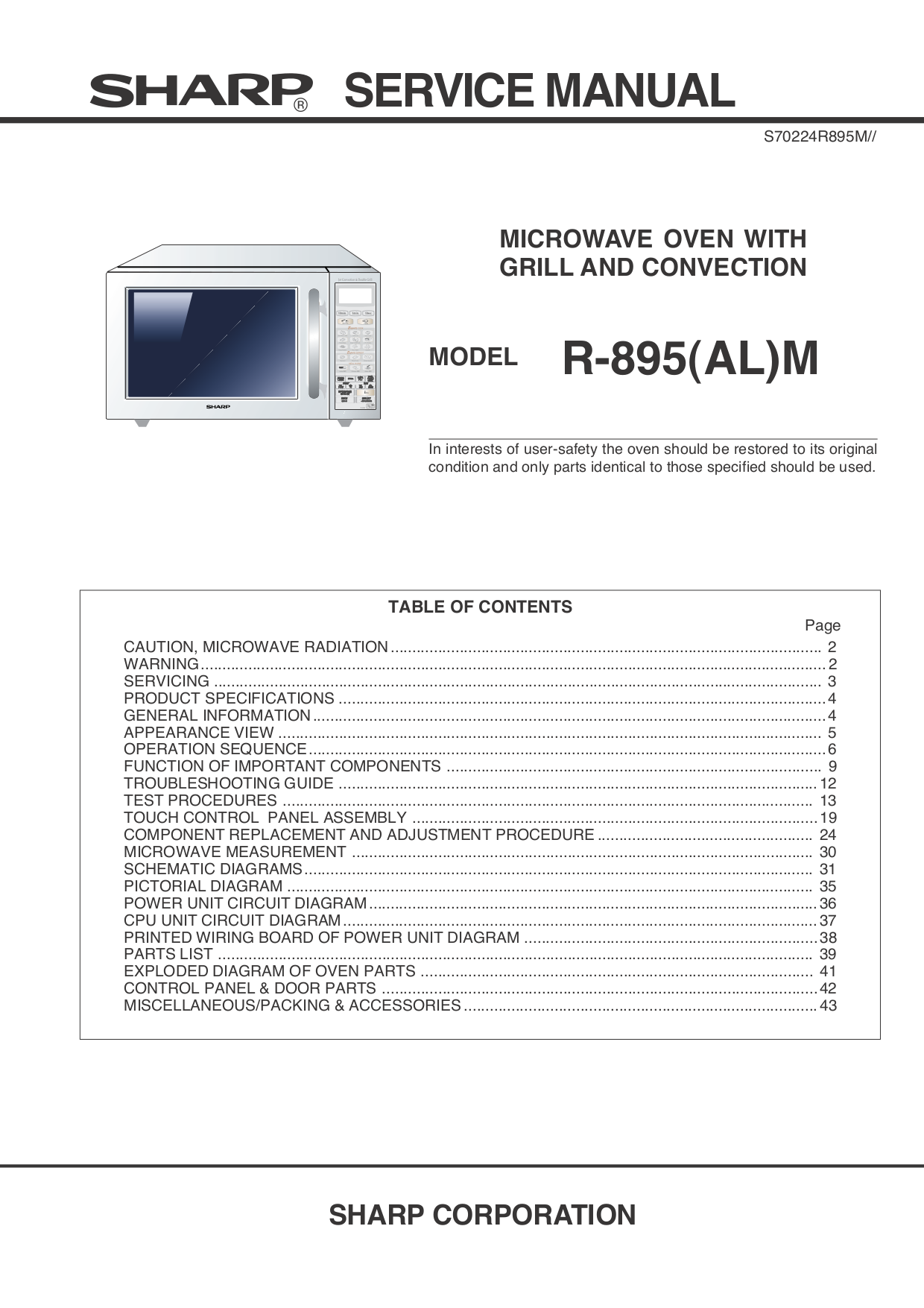 Pdf Manual For Sharp Microwave R 520l Control Panel Circuit Diagram And Parts List Microwaveparts Page Preview