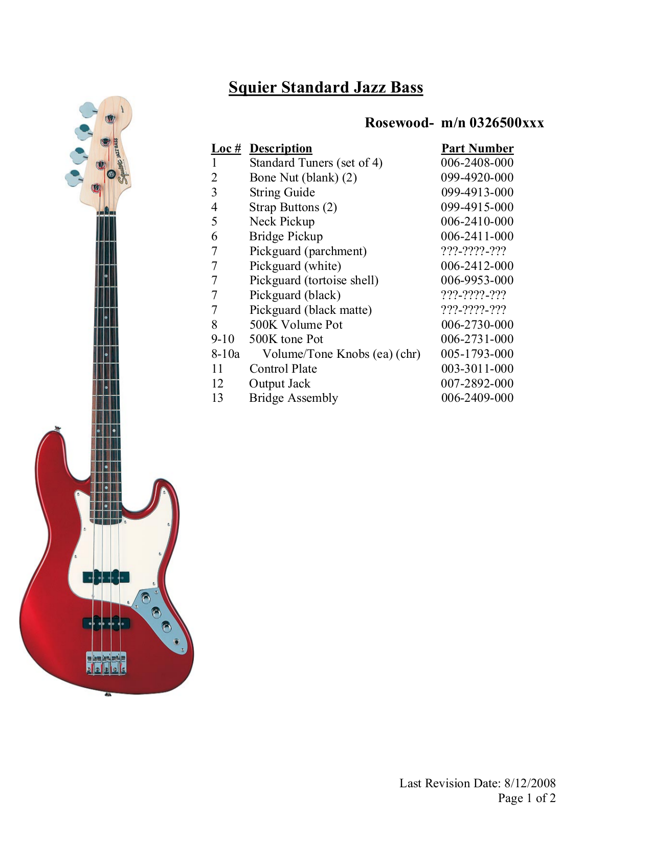 Download Free Pdf For Squier Standard Jazz Bass Guitar Manual