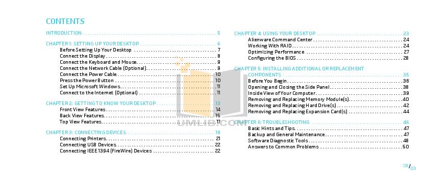 PDF manual for Alienware Desktop Area-51 ALX