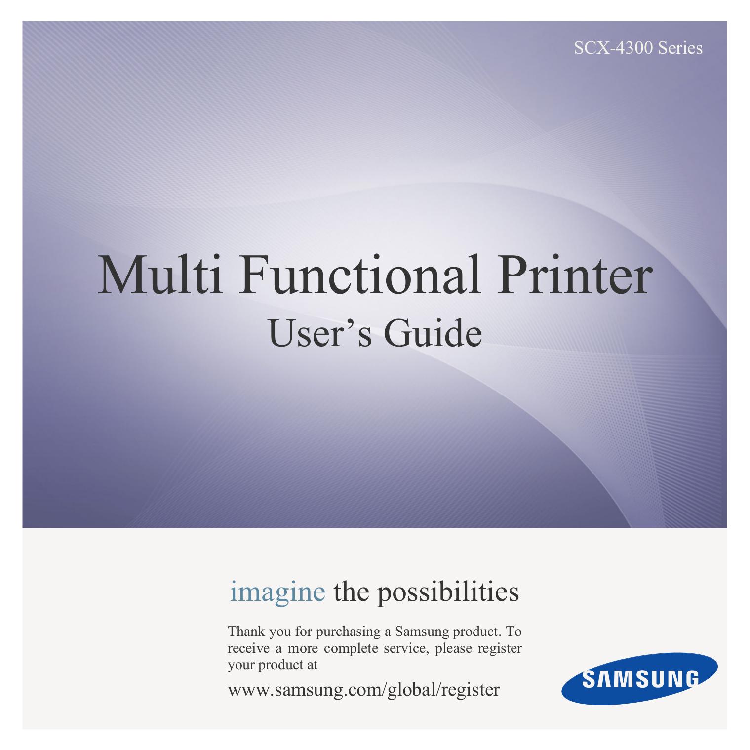 pdf for Samsung Multifunction Printer SCX-4300 manual