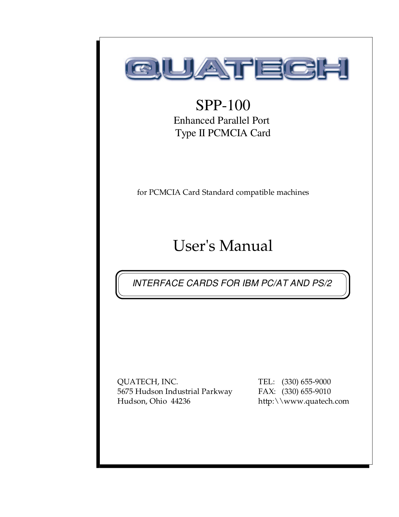 pdf for Quatech Other SPP-100 PCMCIA Cards manual
