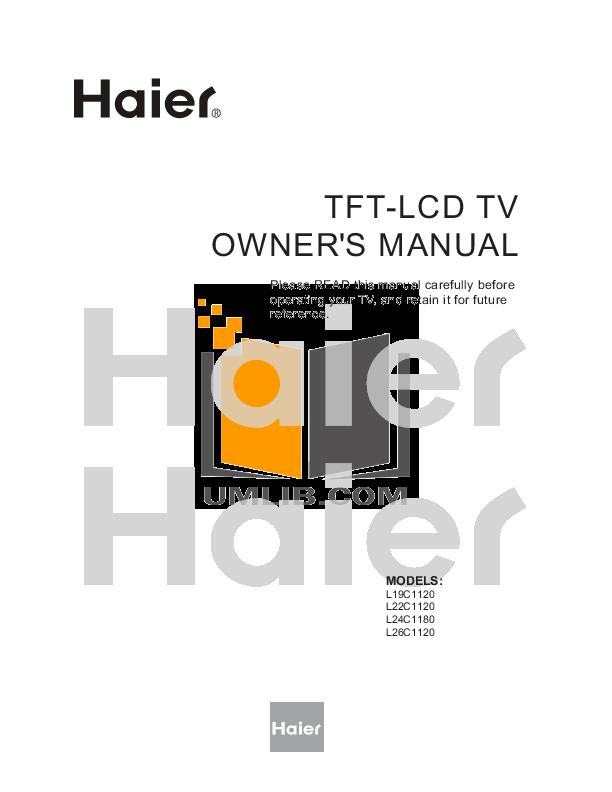 pdf for Haier TV L26C1120 manual