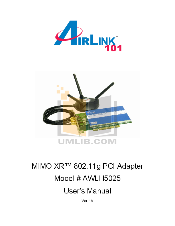 pdf for Airlink Other AWLH5025 Adapters manual
