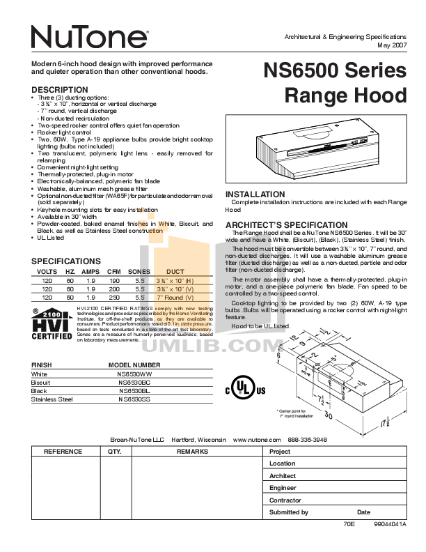 pdf for Broan-NuTone Other NS6500 Hoods manual