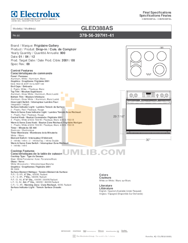 pdf for Frigidaire Range GLED388AS manual