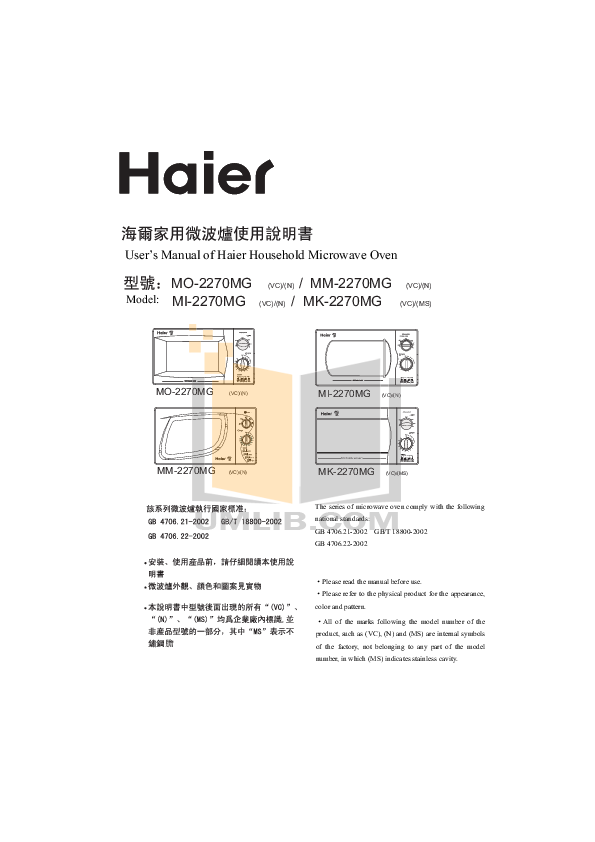 pdf for Haier Microwave MI-2270MG manual