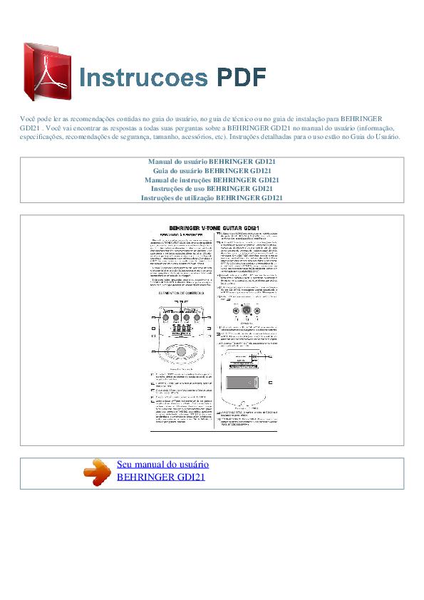 pdf for Behringer Amp GDI21 manual