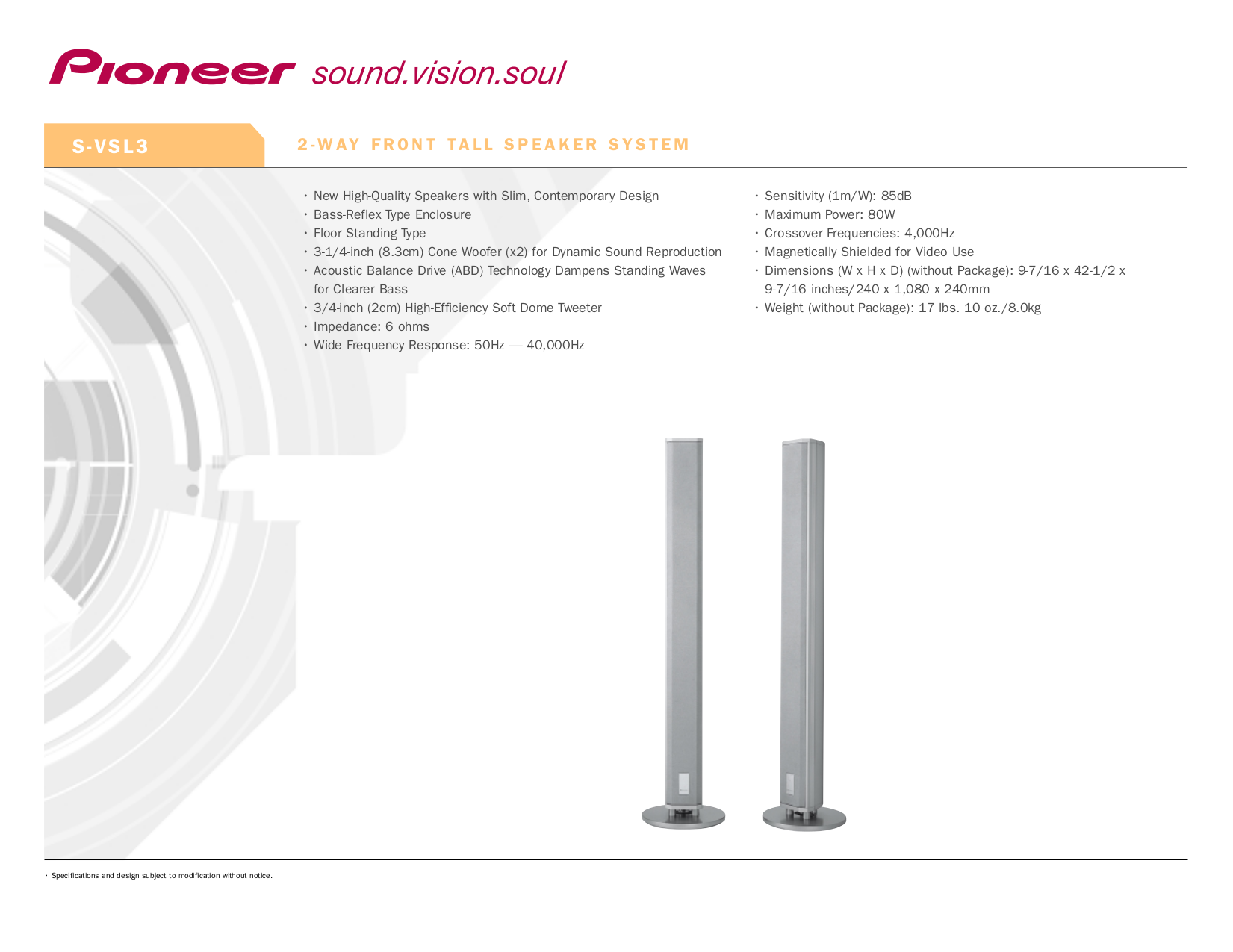 pdf for Pioneer Speaker S-IW60T manual