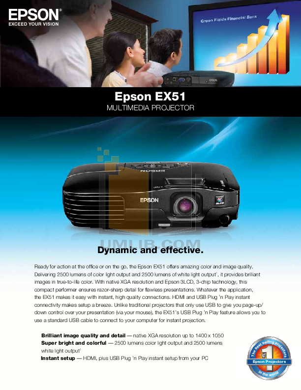 pdf for Epson Projector EX51 manual